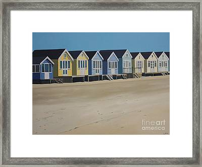 Beach Huts By The Seaside Framed Print by Linda Monk