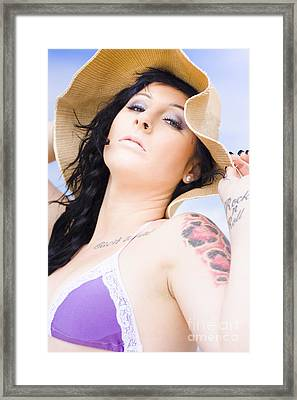 Beach Woman Framed Print