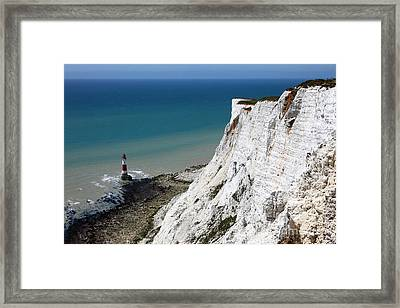 Beachy Head Cliffs And Lighthouse  Framed Print by James Brunker