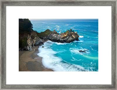 Beautiful Mcway Falls Along The Big Sur Coast. Framed Print
