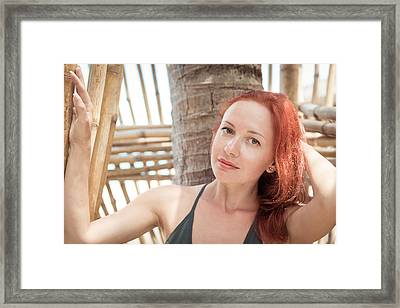 Beautiful Young Woman At The Beach Framed Print