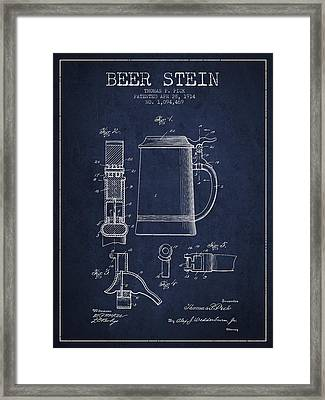 Beer Stein Patent From 1914 - Navy Blue Framed Print by Aged Pixel