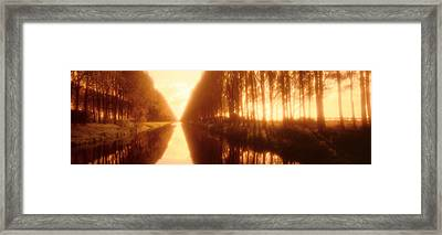 Belgium, Tree Lined Waterway Framed Print by Panoramic Images