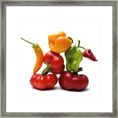 Bell Peppers And Tomatoes Framed Print
