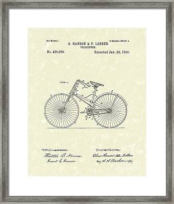 Bicycle 1890 Patent Art Framed Print by Prior Art Design