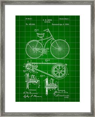 Bicycle Patent 1890 - Green Framed Print by Stephen Younts