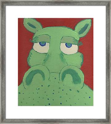 Framed Print featuring the painting Big Green Potamus by Yshua The Painter