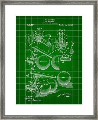 Billiard Bridge Patent 1910 - Green Framed Print by Stephen Younts