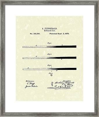 Billiard Cue 1879 Patent Art Framed Print by Prior Art Design