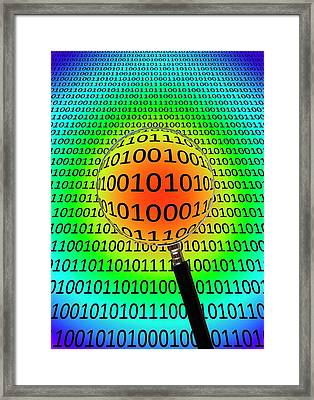 Binary Code And Magnifying Glass Framed Print by Victor De Schwanberg