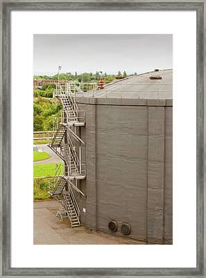 Biodigesters At Sewage Plant Framed Print by Ashley Cooper