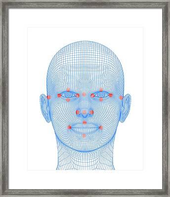 Biometric Facial Map Framed Print by Alfred Pasieka