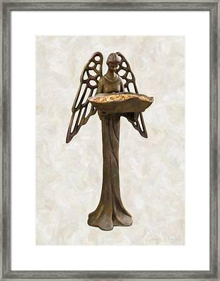 Bird Feeder Angel Framed Print by Danny Smythe