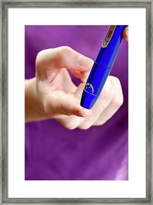 Blood Sugar Level Testing In Diabetes Framed Print by Aj Photo