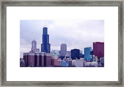 Blue Chicago Skyline Framed Print by Brigitte Emme