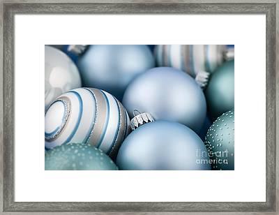 Blue Christmas Ornaments Framed Print by Elena Elisseeva