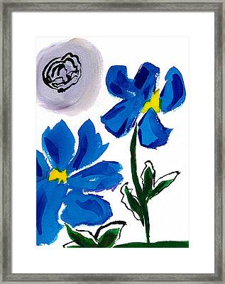 Framed Print featuring the painting 2 Blue Petunias Abstract by Frank Bright