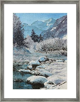 Framed Print featuring the painting Blue Winter by Mary Ellen Anderson