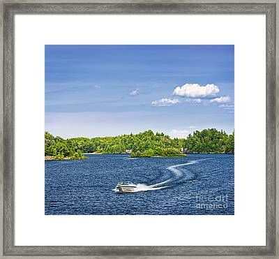 Boating On Lake Framed Print by Elena Elisseeva