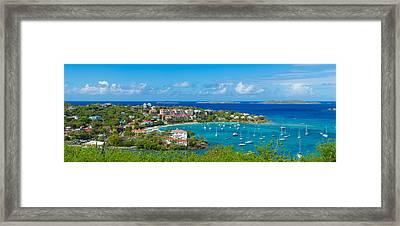 Boats At A Harbor, Cruz Bay, St. John Framed Print by Panoramic Images