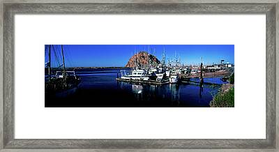 Boats At Harbor In Front Of The Morro Framed Print