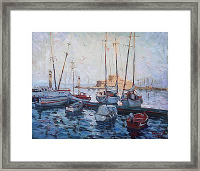 Boats In Rhodes Greece  Framed Print by Ylli Haruni