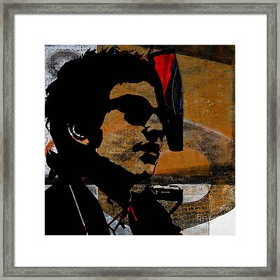 Bob Dylan Recording Session Framed Print by Marvin Blaine