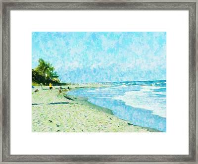 Boca Beach Play Framed Print by Florene Welebny