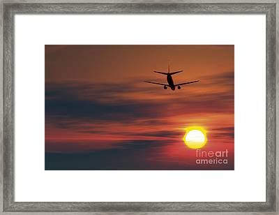 Boeing 737 Ascending At Sunset, Artwork Framed Print
