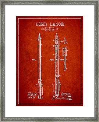 Bomb Lance Patent Drawing From 1885 Framed Print