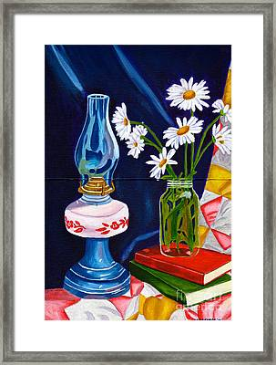Framed Print featuring the painting 2 Books And A Lamp by Laura Forde