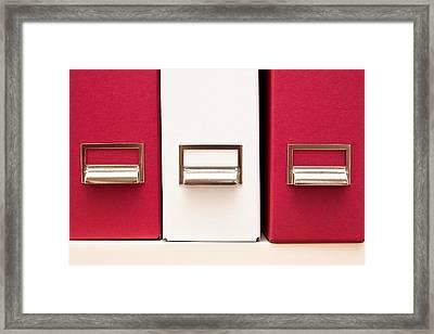 Box Files Framed Print by Tom Gowanlock