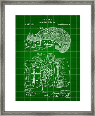 Boxing Glove Patent 1914 - Green Framed Print by Stephen Younts