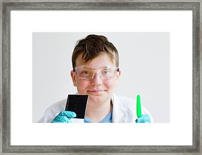 Boy Wearing Protective Goggles Framed Print