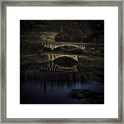 2 Bridges At Dusk Framed Print