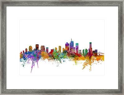 Brisbane Australia Skyline Framed Print by Michael Tompsett