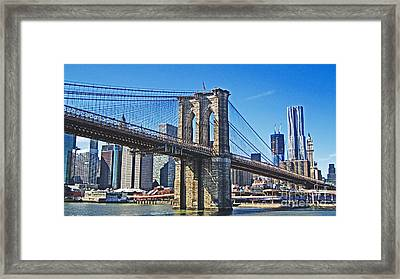 Brooklyn Bridge  Framed Print by Alison Tomich