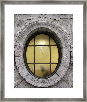 Framed Print featuring the photograph Bryant Park Window by Gary Slawsky