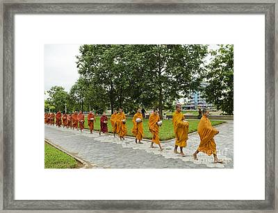 Buddhist Monks In Battambang Cambodia Framed Print