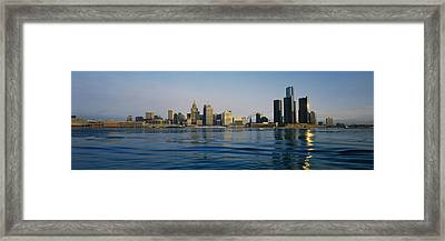 Buildings At The Waterfront, Detroit Framed Print