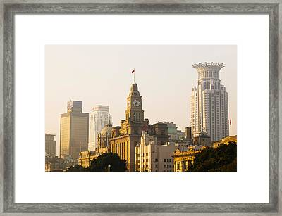 Buildings In A City At Dawn, The Bund Framed Print
