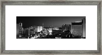 Buildings Lit Up At Night, Las Vegas Framed Print