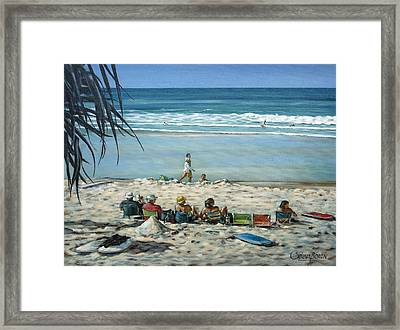 Framed Print featuring the painting Burleigh Beach 220909 by Selena Boron