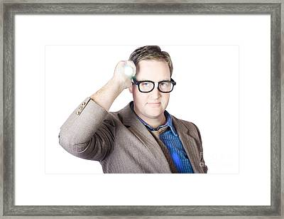 Businessman Holding Torch Framed Print by Jorgo Photography - Wall Art Gallery