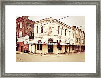 Cajun Corner Cafe Framed Print by Scott Pellegrin