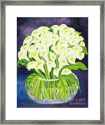 Calla Lilies Framed Print by Laila Shawa