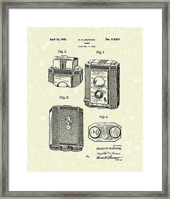 Camera 1940 Patent Art Framed Print