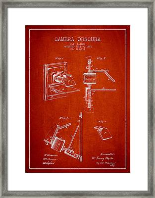 Camera Obscura Patent Drawing From 1881 Framed Print by Aged Pixel
