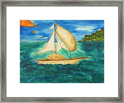 Camouflage Sailboat Framed Print by Debbie Nester