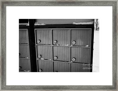 canada post post mailboxes in rural small town Forget Saskatchewan Canada Framed Print by Joe Fox